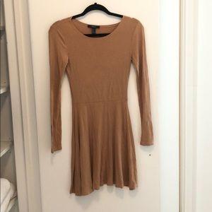 Tan cotton long sleeve dress